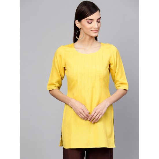 Mustard Yellow-Brown 2 Pieces Solid Straight Dress For Women. SD-1086