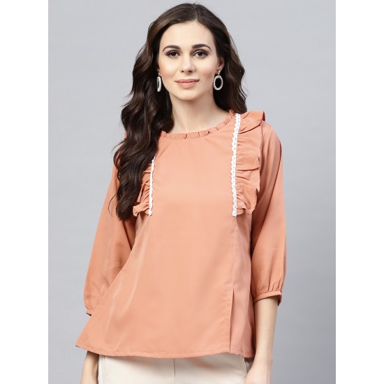 Peach Solid A-Line Laced Top For Women. SD-1087