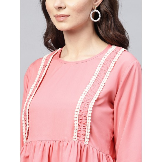 Pink Solid A-Line Laced Top For Women. SD-1088
