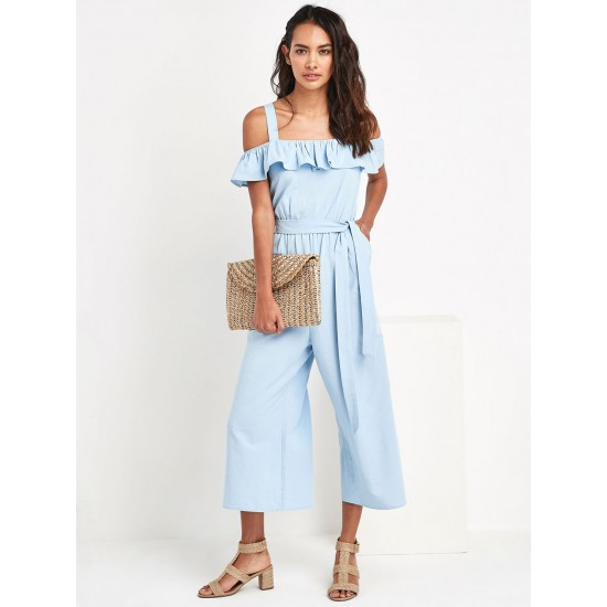Blue Solid Cold Shoulder Culotte Jumpsuit For Women. SD-1090