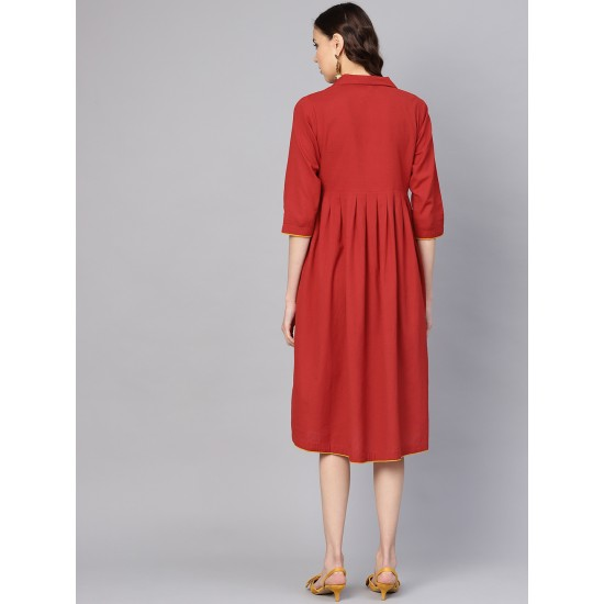 Maroon Solid A-Line Dress For Women. SD-1091