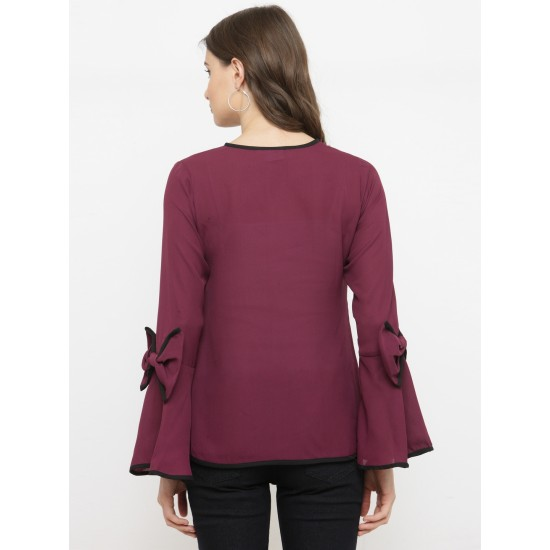 Burgundy Solid A-Line Bow Sleeve Top For Women. SD-1092