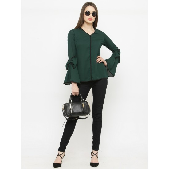 Green Solid A-Line Bow Sleeve Top For Women. SD-1093