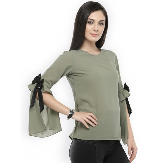 Olive Green Solid Bow Sleeve Top For Women. SD-1094