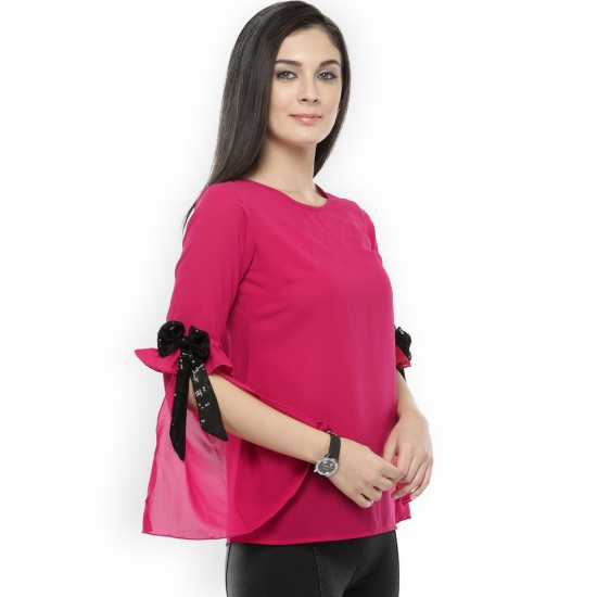Pink Solid Bow Sleeve Top For Women. SD-1095