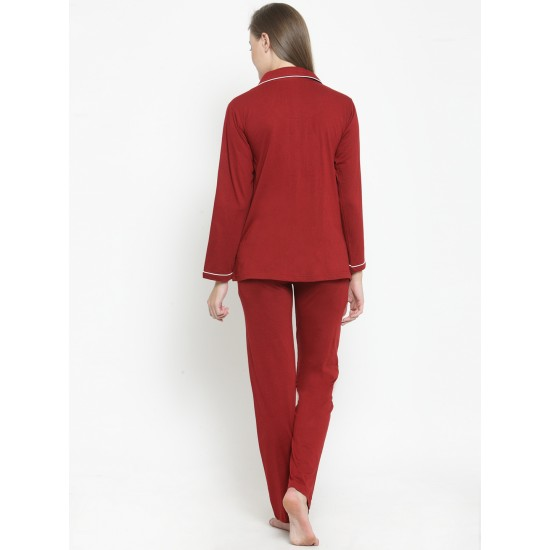 Maroon Cotton Solid Night suit For Women. SD-1051