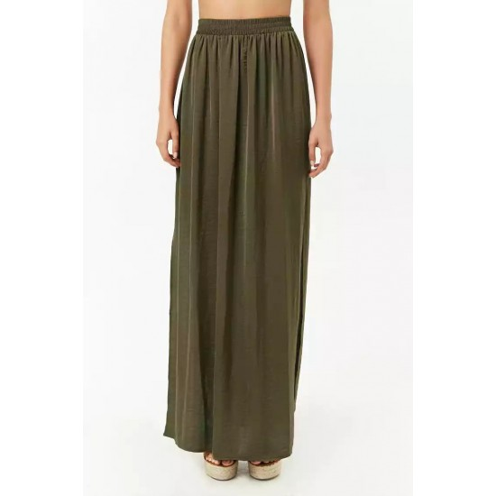 Army Green Side Slit Maxi Skirt For Women. SD-894