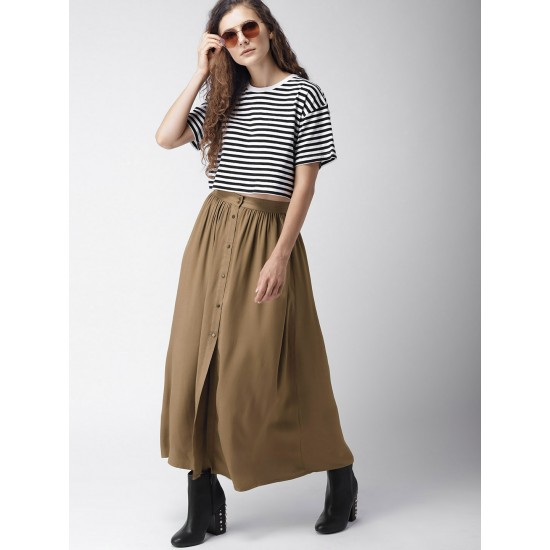 Army Green Buttoned Style Front Open SKirt For Women. SD-906