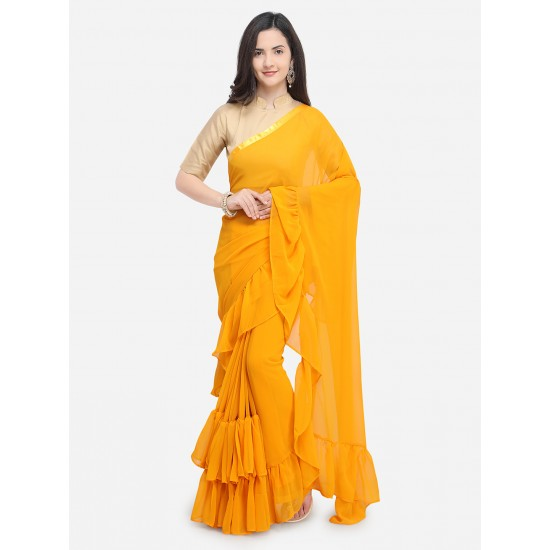 Yellow Solid Silk Chiffon Saree For Women. SD-1227