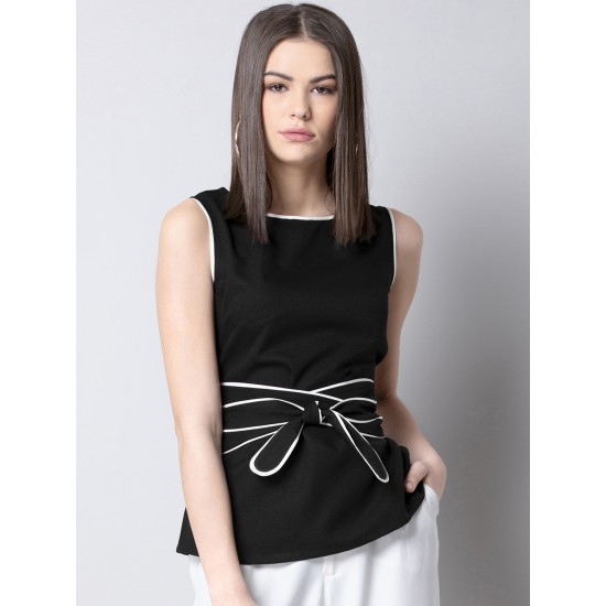 Black Solid Cinched Waist Top For Women. SD-969