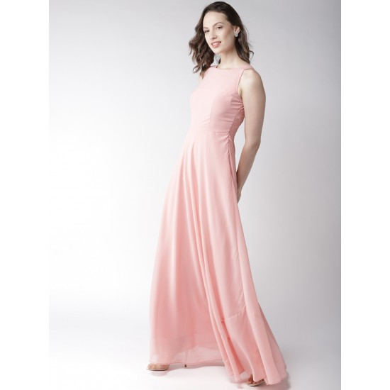 Baby Pink Solid Maxi Dress For Women. SD-1013