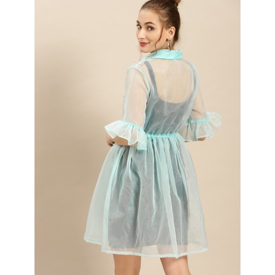 Blue Solid Sheer Fit and Flare Dress For Women. SD-1040
