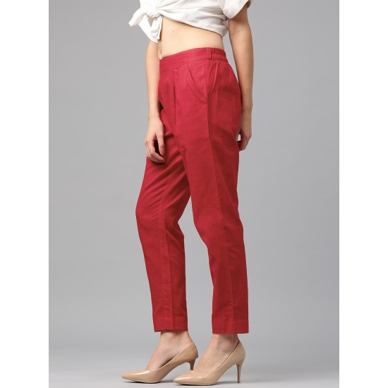 Red Solid Regular Pants Style Trousers For Women. SD-1182