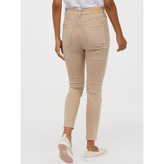 Beige Super Skinny High Jeans For Women. SD-1195