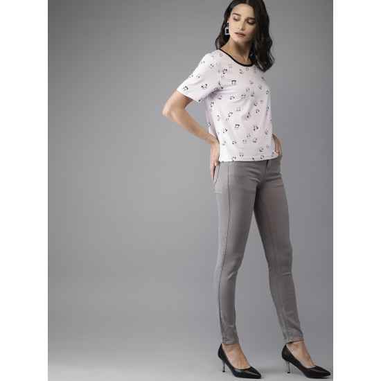 Grey Skinny Fit Mid-Rise Clean Look Stretchable Jeans For Women. SD-1192