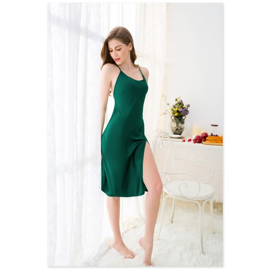 Green Open-forked Backless Sexy O-Neck Sleeping Cami For Women. SD-947