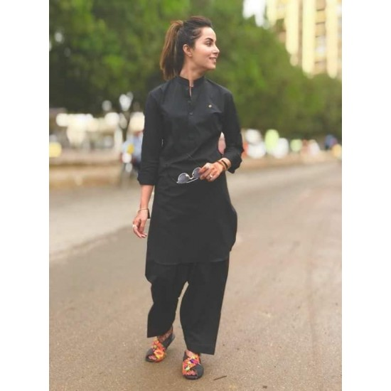 Army Green Cotton Kameez Shalwar For Women. SD-994