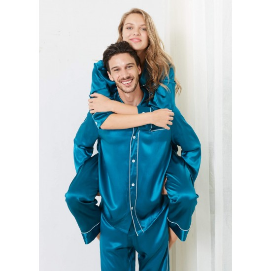 Teal Trimmed Silk Couple Pajamas Sets RID-580-2