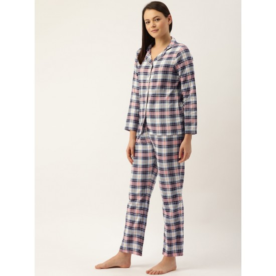 Women's Black And Pink Checkered Lounge Nightsuit. MJ-2708