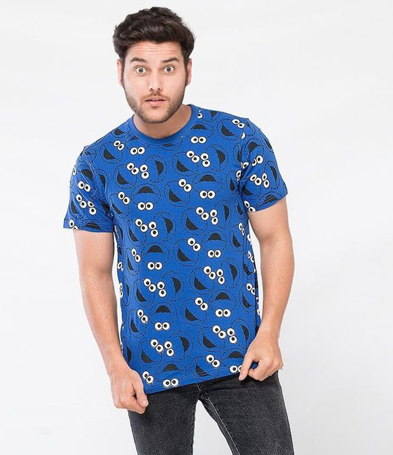 Men's Blue Cookie Face All Over Printed T-shirt. CF-AOP91