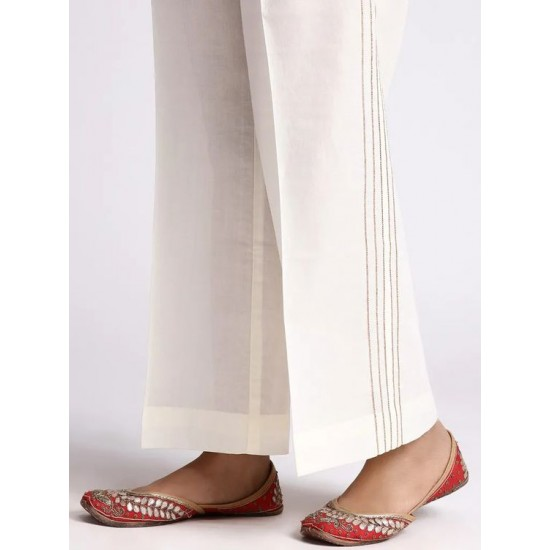 Women's Off-White Cotton SIde Pleated Pants. SM-400