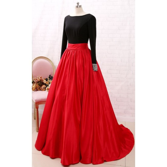 Women's Red Satin Silk Back Tale Long Skirt With Cancan Under Skirt. SM-357