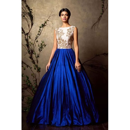 Women's Royal Blue Extra Flare Satin Skirt With Cancan Under Skirt. SM-370