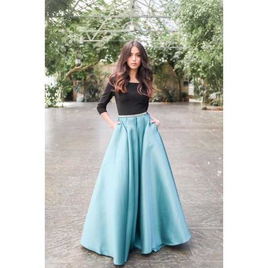 Women's Sky Blue Satin Skirt With Cancan Under Skirt With Black T-shirt. SM-371