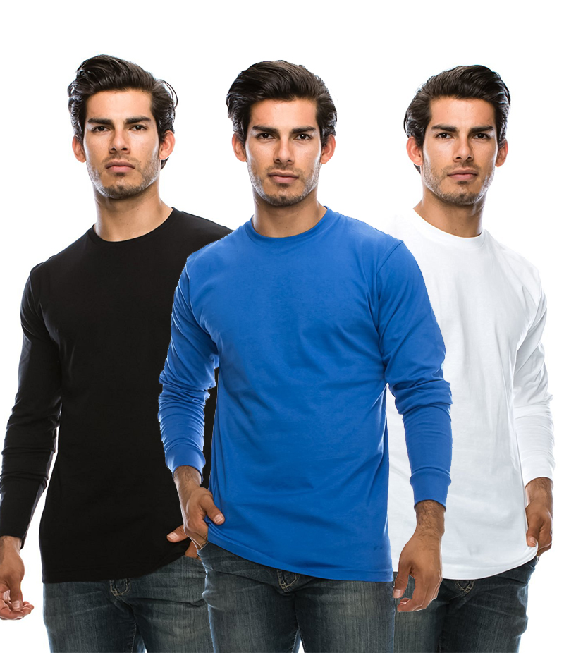 Men's Pack of 3 Long Sleeve T-shirts. BWB-AJL3