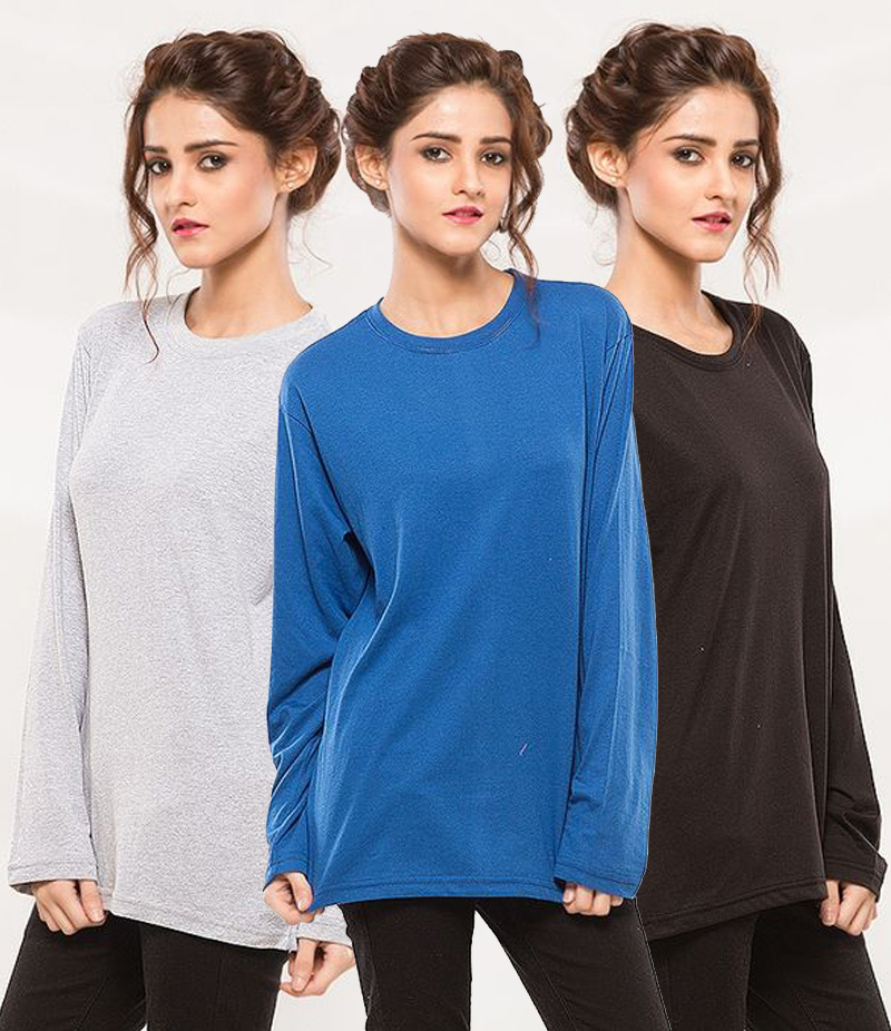 Women's Pack of 3 Cotton Long Sleeve T-shirts. GNW-AJL3W