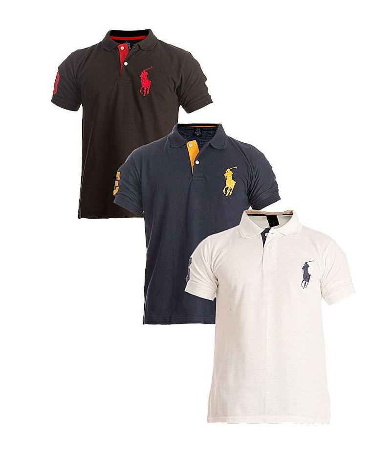 Men's Pack of 3 Horse Pique Polo T-shirt. HPL-039
