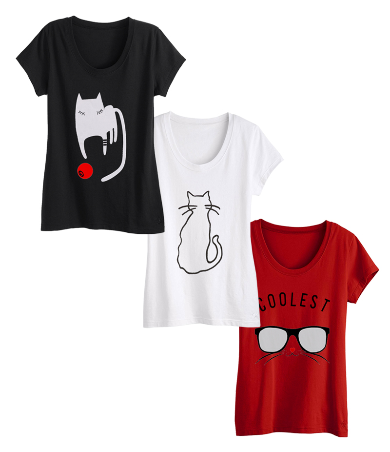 Women's Pack of 3 CAT Lovers Printed T-shirt. WP3-CL