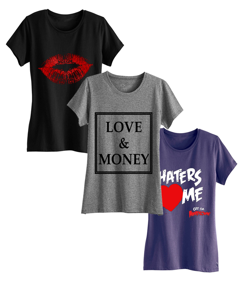 Women's Pack of 3 Funky Printed T-shirts. WP3-FT