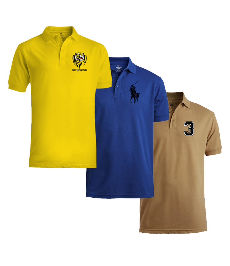 Men's Pack Of 3 Branded Polo Shirts. YRBR-P563