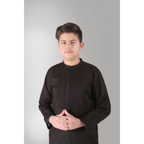 Black Pleated Neck Cotton Kurta For Boys. SD-592