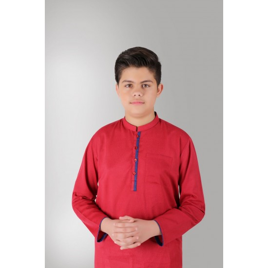 Dark Red Contrast Piping Cotton Kurta For Boys. SD-594