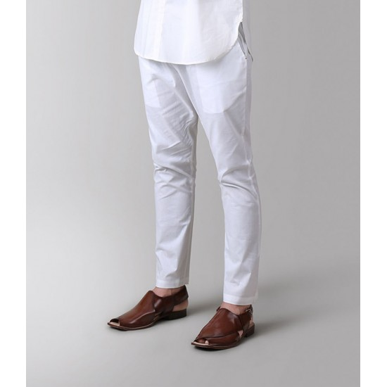 White Malaysian Cotton Pant Style With 2 Side Pockets Trouser For Men. SD-606