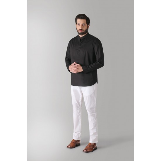 Black Bib Front Short Kurta For Men. SD-597
