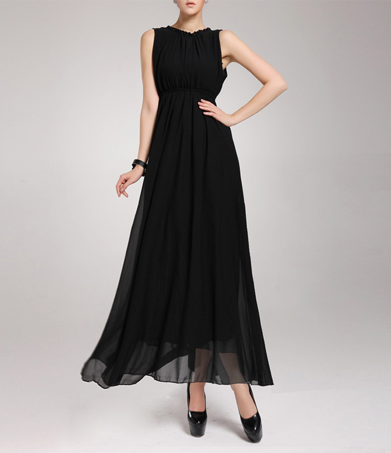 Women Black Sleeveless Elegant Casual Long Maxi Dres. E4H-00027