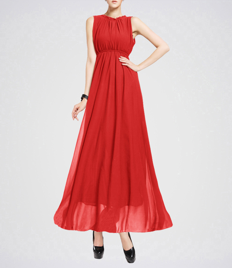 Women's Red Sleeveless Elegant Casual Long Maxi Dress. E4H-00028