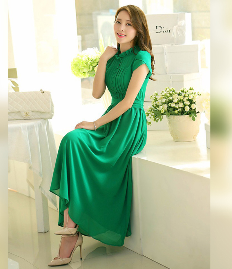 Women's Green Stylish Plated Long Maxi Dress. E4h-00030