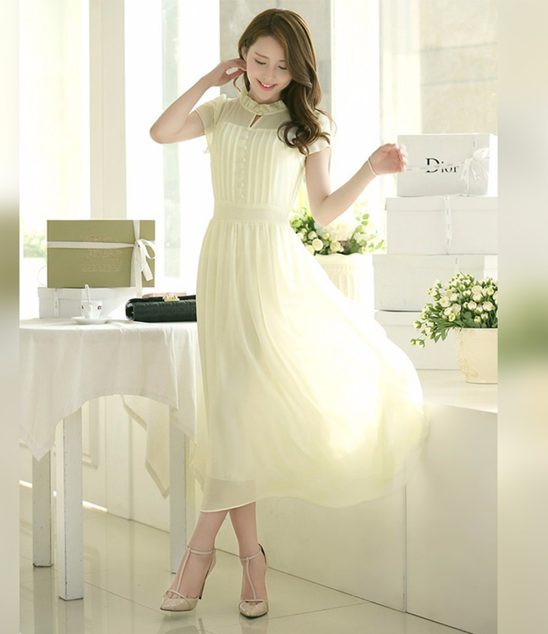 Women's Cream Stylish Plated Long Maxi Dress. E4H-00032