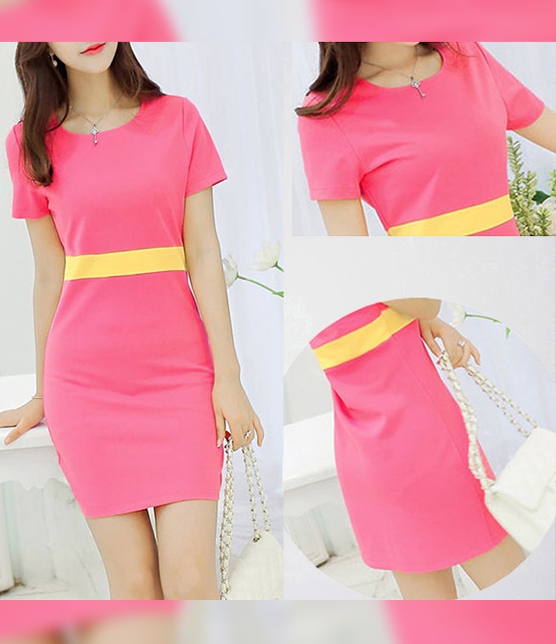 Women's Pink Half Sleeves Short Dress. E4H-00033