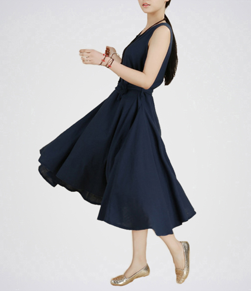 Plain Waist Slim Chiffon Dress- E4H-0131