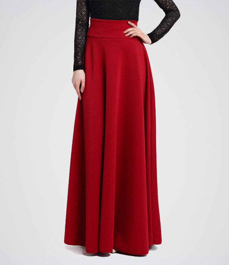 Women's Wine Red Pleat Long Skirt. E4h-11019