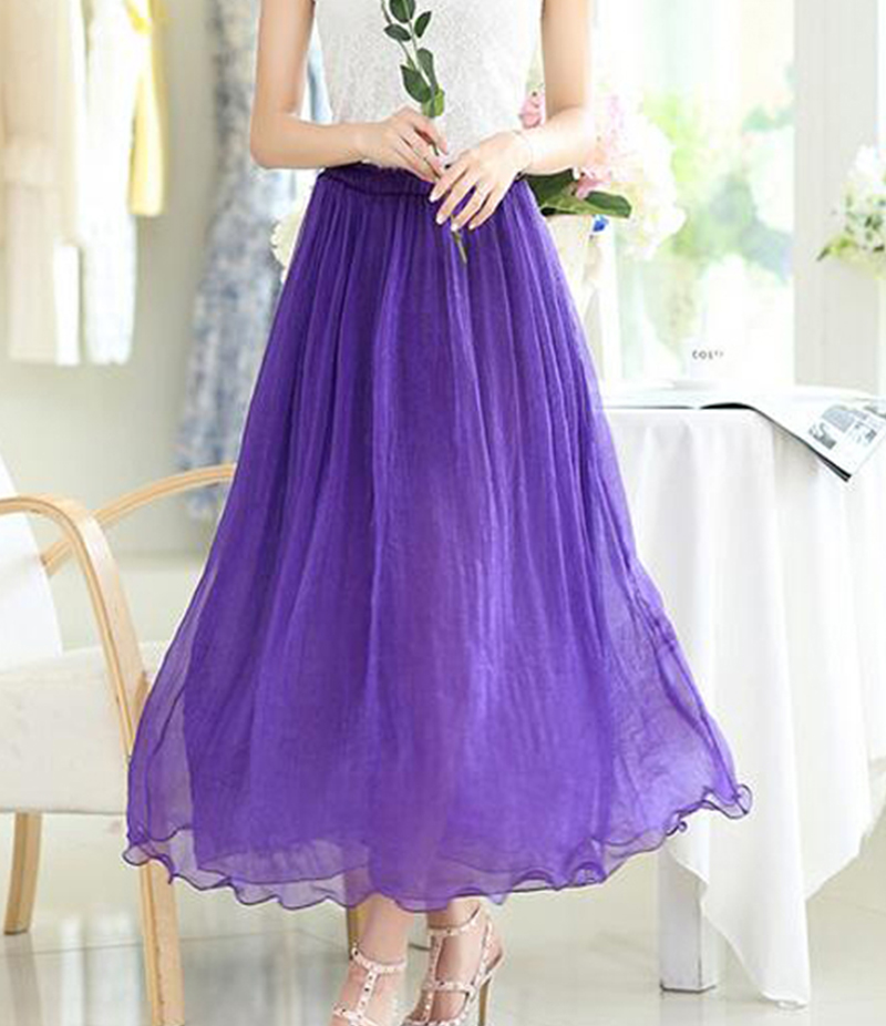 Women's Purple Chiffon Long Skirt. E4H-11012