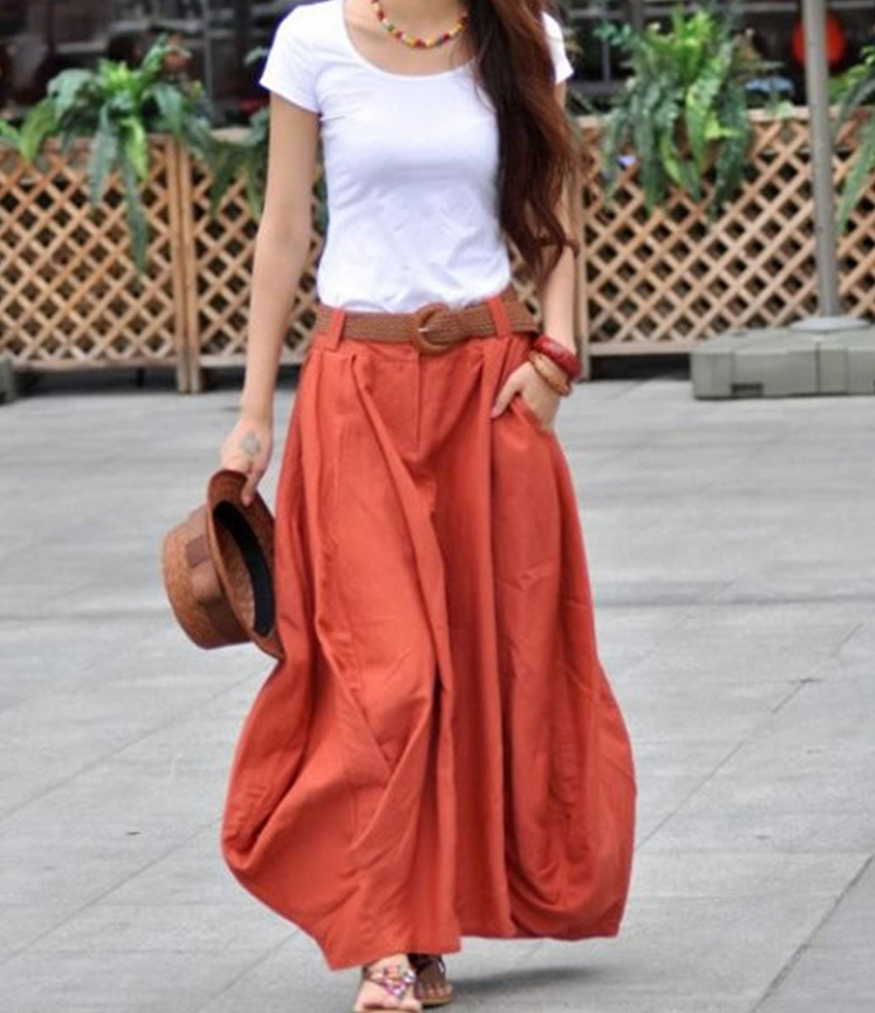 Women's Rust Cotton Long Skirt With White T-shirt. E4H-110124