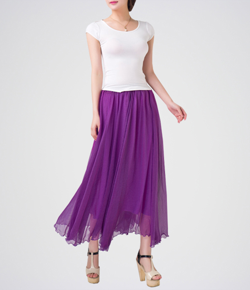 Women's Purple Chiffon Long Skirt With White T-shirt. E4H-110126