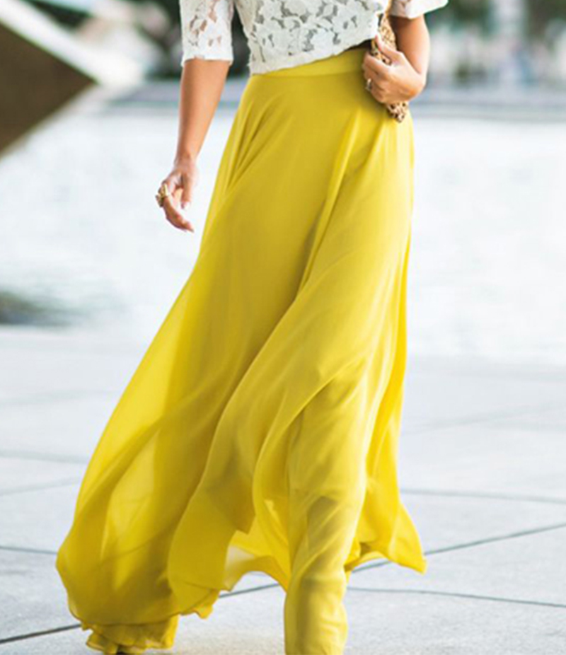Women's Yellow Chiffon Long Skirt. E4H-110129