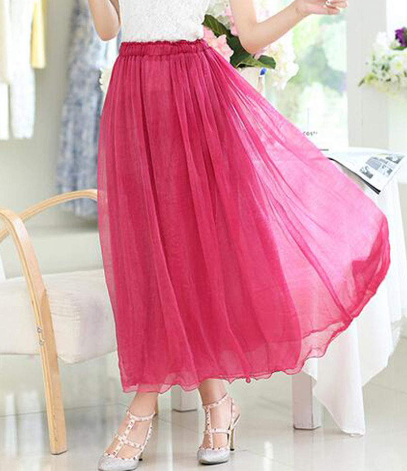 Women's Hot Pink Chiffon Long Skirt. E4H-11013
